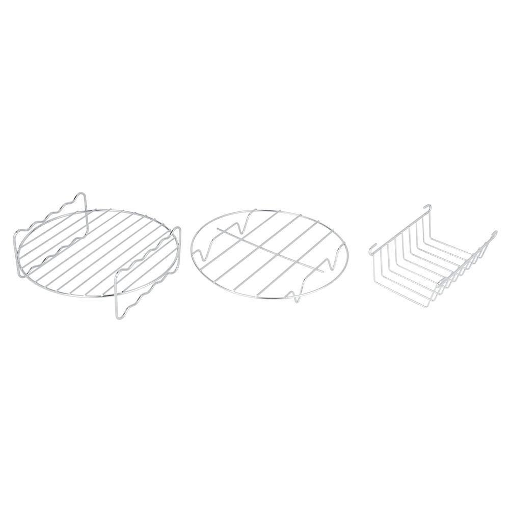 AUNMAS Accessori per friggitrice ad Aria da 8 Pollici Set di Pezzi da 8 Pezzi Kit di Metallo Supporto per spiedino Barilotto per Uso Domestico