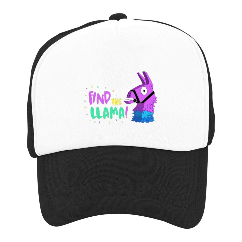 Stzanpt Kids Find The Llama Creative Basketball Adjustable Printing mesh Fitted Hats for Youth Boy Girl Funny Design