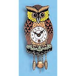 Pinnacle Peak Trading Company Owl with Moving Eyes and Pendulum Mechanical Movement Mini German Clock Germany