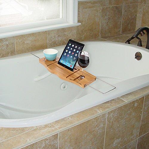 ARAD Bathtub Tray, Soap Tray, Bath Bamboo Tray, Bath Accessories, Bath Bamboo Caddy, Bathroom Tray, Tablet Holder for Bath, Luxury Bathroom Caddy, Bath Shelf - iPad, Tablet and Book Stand for Bath