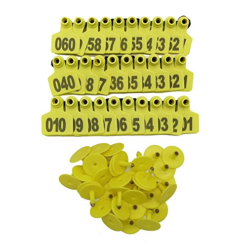 1-100packs Pig Ear Tag Laser Typing Copper Head Farm Animal Identification Card Custom Ear Tag (Yellow) -