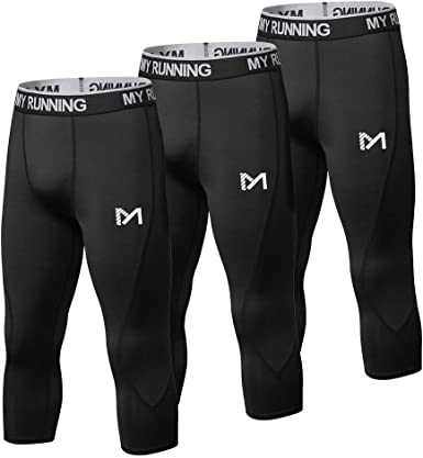 Men Compression Shorts 3//4 Cropped Pants Fitness Gym Base Layers Athletic Tights
