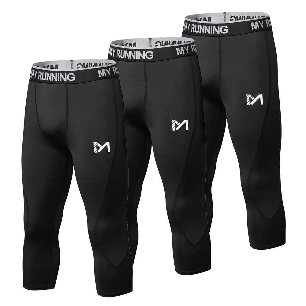 MEETYOO Men's 3/4 Compression Pants Leggings Tights, Cool Dry Sport Workout HeatGear Capri Base Layer Running Cycling (3 Pack-b, Small)