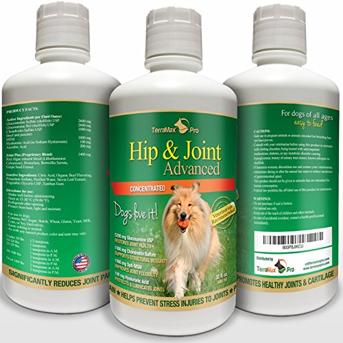 Concentrated Liquid Glucosamine for Dogs ? Advanced Hip and Joint Supplement with Chondroitin, MSM, Hyaluronic Acid and More ? Safe & Natural Arthritis Pain Relief for Dogs ? 32 oz Bottle ? Made in US