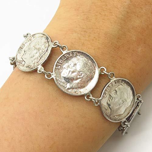 (VTG 900 Silver Roosevelt Liberty Dime 1952-1964 Coin Link Bracelet 6.5