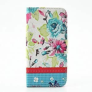 JJE Coquettish Blooming Flowers Pattern PU Leather Full Body Case with Stand and Diamond for Samsung S5 Mini