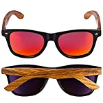 Woodies Zebra Wood Sunglasses with Mirror Polarized Lens for Men and Women 11 Handmade from REAL Zebra Wood (50% Lighter than Normal Sunglasses) Includes FREE Carrying Case, Lens Cloth, and Wood Guitar Pick Polarized Lenses Provide 100% UVA/UVB Protection