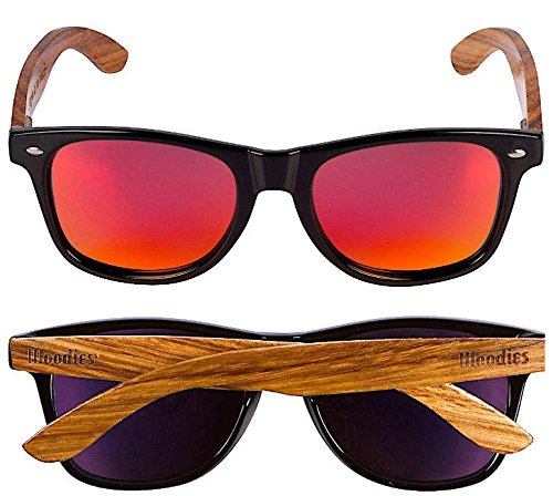 Woodies Zebra Wood Sunglasses with Mirror Polarized Lens for Men and Women 2 Handmade from REAL Zebra Wood (50% Lighter than Normal Sunglasses) Includes FREE Carrying Case, Lens Cloth, and Wood Guitar Pick Polarized Lenses Provide 100% UVA/UVB Protection