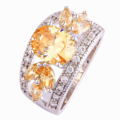Psiroy 925 Sterling Silver Grace Womens Band Charms Gorgeous 9mm7mm Oval Cut Cz Created Morganite Filled Ring