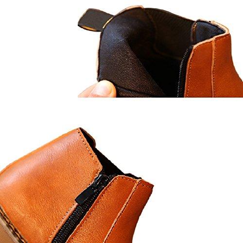 Zhuhaixmy Winter Kinder Schuhe Jungen Mädchen Martin Stiefel Casual Vintage Reißverschluss Flache Schuhe Grau