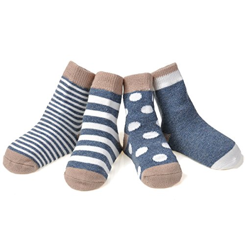 Epeius 4 Pairs Infant Baby Boys Stripe Dot Style Cotton Socks for 6-12 Months,Blue and (Dots Pink Cotton Socks)