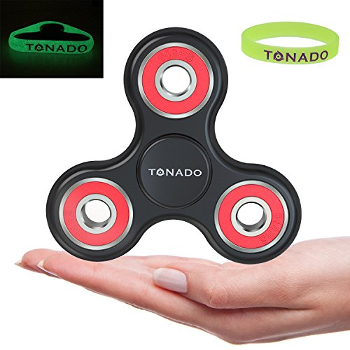 Tonado Tri Fidget Hand Spinner - Premium High Speed Si3N4 Ceramic Bearing ABS Frame Glow in the Dark Wristband - Help Focus Relieve Stress Anti-Anxiety ADHD Autism - Adults Kids EDC Toy (Glow In The Dark Eye Contacts)
