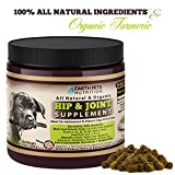 Earth Pets Nutrition, All Natural and Organic Hip and Joint Supplement and Dog Vitamin, Glucosamine, Chondroitin, MSM, Yucca and Organic Turmeric for Dogs, 130 Soft Chew Treats
