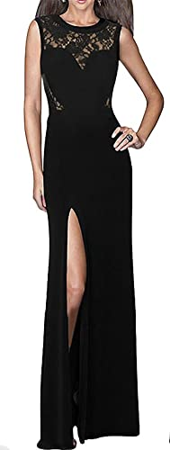 made2envy Lace inserts Front Slit Long Evening Dress