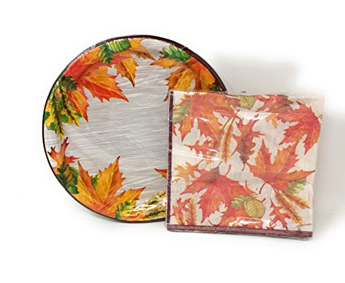 Autumn Harvest/Thanksgiving Decorative Paper Plates and Napkin Set (Leaves)