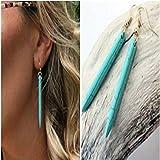 Turquoise Bar Dangle Threader Drop Earrings Tassel Ear Studs Women Long Linear Simple