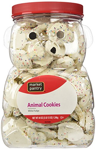 Market Pantry Frosted White Fudge Animal Cookie Jug, 44 Ounce