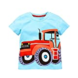 VIKITA Little Boys Short Sleeve Blue Tractor PIECINE Cotton T-Shirt m50787 1T
