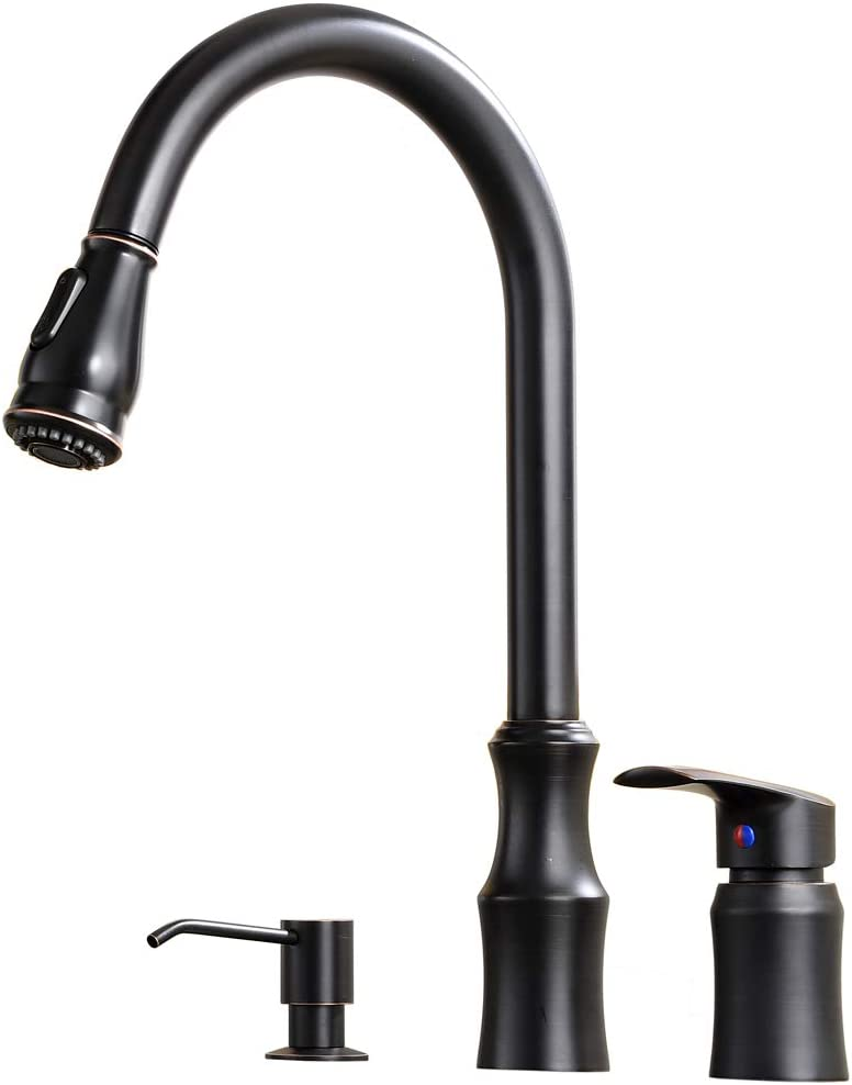 Hotis Modern High Arc Pull Out Stainless Steel Single Handle Pull Down Kitchen Sink Faucet,Oil Rubbed Bronze Kitchen Faucet with Soap Dispenser