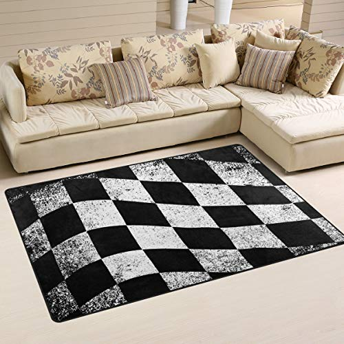 Checkered Flag Area Rugs Home Decor,Anti Slippery Polyester Living Room Floor Mat Comfy Bedroom Carpets Doormats(31 x 20 in&60 x 39 in)