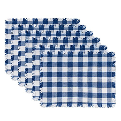 DII 100% Cotton, Machine Washable, Heavyweight Woven Fringed Placemat For Fall & Holidays, Everyday Use & Outdoor Picnics, Set of 6 - Navy - Green Red Placemat