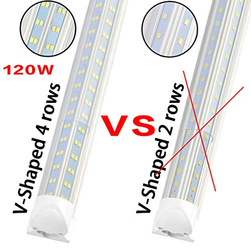 (Pack 8pcs)8FT LED Shop Light Fixture - 120W 14400LM, 5000K-5700K Daylight, T8 Integrated V Shape Fluorescent Tube Lights, High Output Bulbs for Garage Warehouse Workshop, Plug and Play