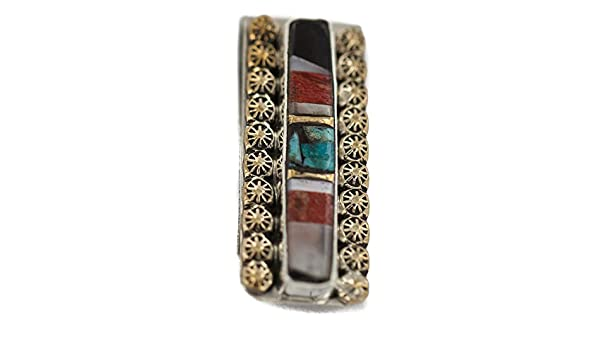 $190Tag Silver Navajo Inlaid Onyx MOP Spiny Turquoise Nickel Brass Money Clip