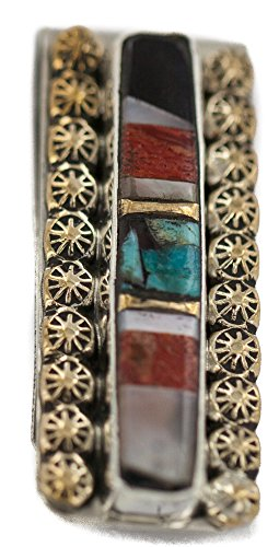 Inlaid Black Onyx ($190 Retail Tag Navajo Handmade Authentic Made by Robert Little Silver Inlaid Natural Black Onyx Mother of Pearl Spiny Oyster Turquoise Native American Nickel and Brass Money Clip)