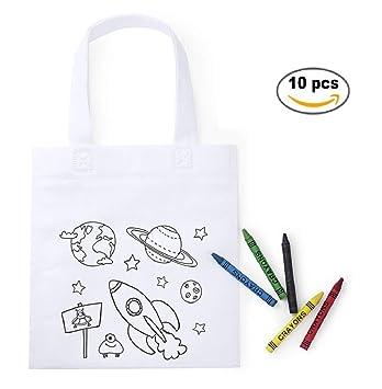 MIRVEN Lote 10 Bolsas para Colorear con 5 Ceras de Colores Cada una. Ideal para Detalles Cumpleaños Infantiles y Piñatas de Cumpleaños, Regalos niños ...