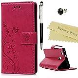 Huawei P9 liteケース Mavis's Diary 横置き 耐久性 保護ケース 吸着の機能 スタンド 手帳型 PUレザー素材 胡蝶 バラ色