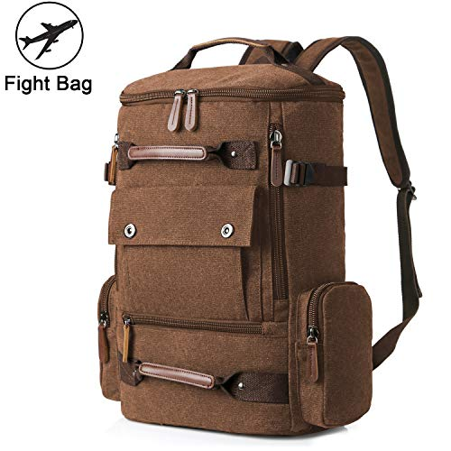 Large Canvas Backpack for Men, Yousu Man Travel Duffel Backpacks Large Capacity Backpack Bag Casual Vintage College School Rucksack Vintage Daypack Coffee ()