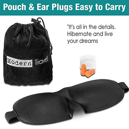 3D Memory Foam Sleep Mask With Heightened Nose Arch | Breathable Fabric & Adjustable Velcro Strap | For Men, Women, Meditation, Shift Workers & More | Bonus Travel Case & Ear Plugs by Generic (Image #2)
