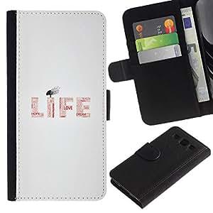 All Phone Most Case / Oferta Especial Cáscara Funda de cuero Monedero Cubierta de proteccion Caso / Wallet Case for Samsung Galaxy S3 III I9300 // LIFE - TYPOGRAPHY MESSAGE