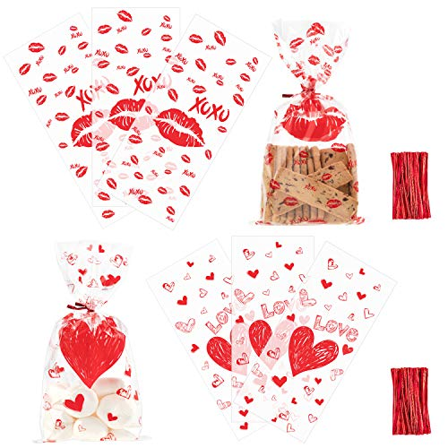 - Whaline Valentine Cellophane Bags 100 Pieces Candy Treat Bags, Valentine Gift Bags Plastic Clear Cello Bags Party Favor Gifts Bags, 2 Styles with 100 Twist Ties