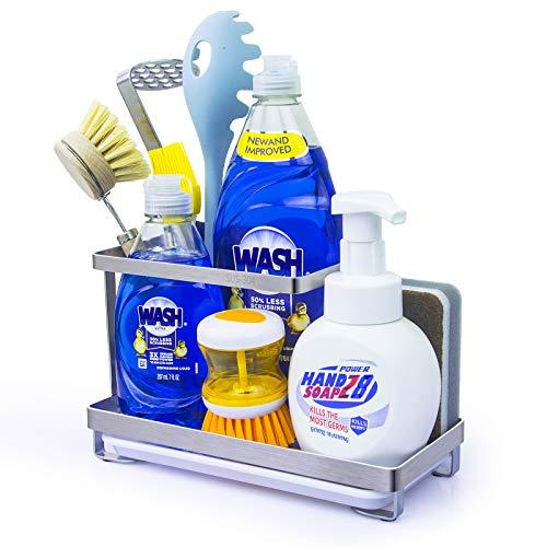 Q-LIfe Kitchen Sink Caddy Organizer, SUS304 Stainless Steel Sponge Brush Soap Holder,for Countertop, Bathroom, Dish…
