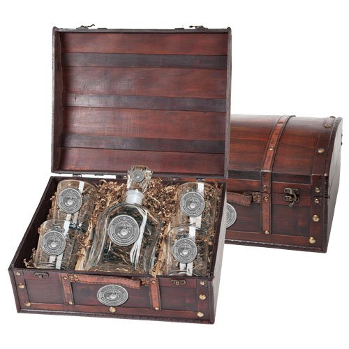 United States Marine Corps Capitol Decanter Wood Chest Set by Heritage Pewter