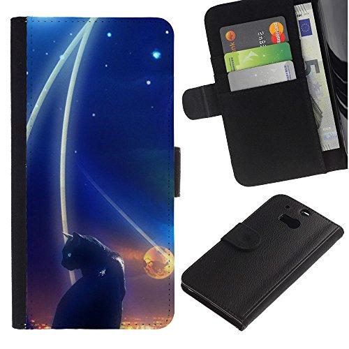 LASTONE PHONE CASE / Lujo Billetera de Cuero Caso del tirón Titular de la tarjeta Flip Carcasa Funda para HTC One M8 / Abstract Black Cat Night Space Dark