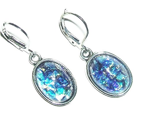 Handcrafted Brilliant Opal Earrings (BLUE OPAL EARRINGS Czech Glass Opalized Cabochon Stones SILVER Pltd Leverback Dangle Drops)