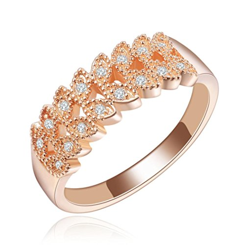 Womens Girls Faux Crystal Rings AfterSo Fashion Exquisite Popular Zircon Ring Anniversary Cocktail Engagement Wedding Bride Jewelry Romance Birthday Gift for Her / Girlfriend (8, Rose Gold) (Sun Oval Diamond Ring)