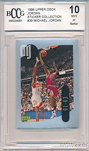1998 Upper Deck Michael Jordan Sticker Graded HIGH BECKETT 10 MINT! Awesome HIGH GRADE Card of Legendary Chicago Bulls Hall of Famer! Shipped in Ultra Pro Graded Sleeve to Protect it! Wowzzer!
