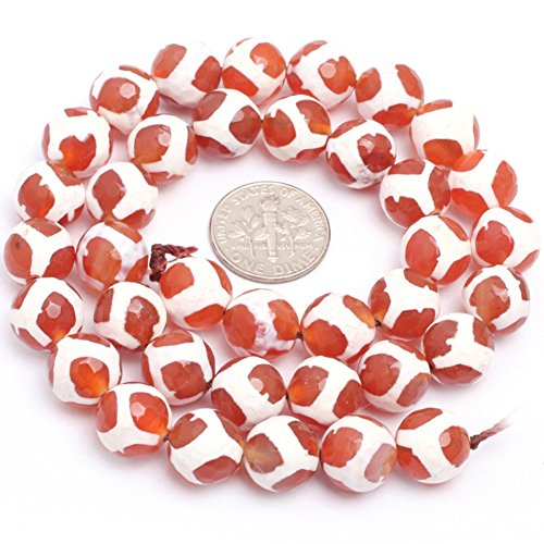 ous Round Faceted Banded Football Red Fire Agate Gemstone Beads for Jewelry Making Strand 15