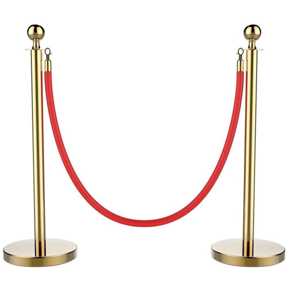 Yaheetech Stanchions and Velvet Ropes Ball Top Stainless Steel Stanchions Posts with 6.5ft Red Velvet Rope,Crowd Control Stanchions,Gold by Yaheetech