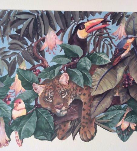 - Kids Room Jungle Animals Wide Diecut Wallpaper Border...