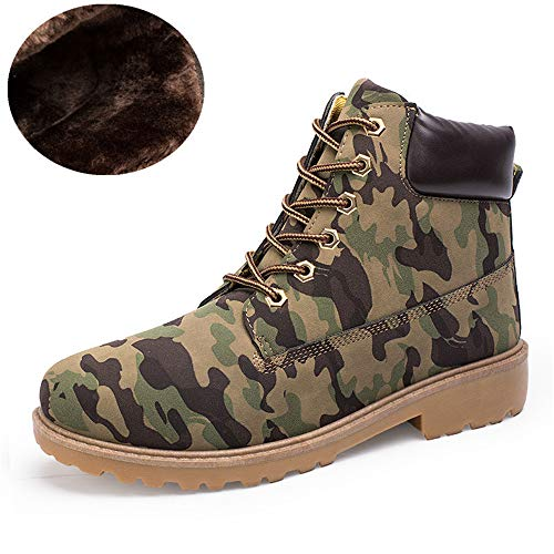 (excellent.c Men's Work Boots Motorcycle Boots Casual Boots Martin Boots(Green Plus Velvet 45/10.5)