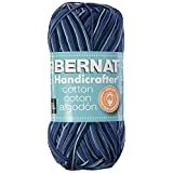 Bernat Handicrafter Cotton Yarn, Ombre, 12 Ounce, Blue Camo