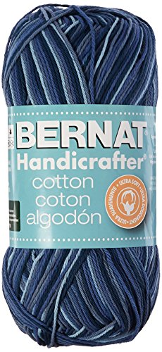Cotton Ombre Yarn - (4) Medium Gauge 100% Cotton - 12 oz - Blue Camo - Machine Wash & Dry (Bernat Camouflage Yarn)