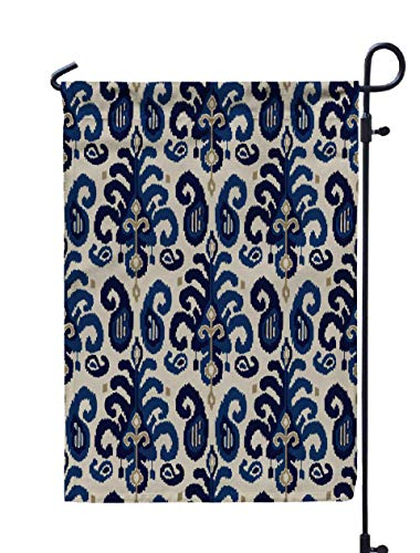 ROOLAYS Outdoor Seasonal Garden Flags Stands Pattern Traditional Oriental Ethnic Ornament Indigo Cobalt Blue Ecru Background Textile Paisley Double Sided Colorful Holiday Yard Flag 12X18 inches