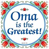 Essence of Europe Gifts E.H.G Oma Is The Greatest! Decorative Wall Tile Gift for Oma