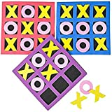 "4E's Novelty 5"" x 5"" Kids Foam Tic Tac Toe, Bulk Pack of 24 - Easter Basket Stuffers, Birthday Party Favors, Neon Colors"