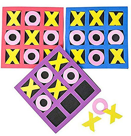 4E's Novelty 5 x 5 Inches Kids Foam Tic Tac Toe, Bulk Pack of 24 - Valentine's Day Stuffers, Birthday Party Favors, Neon Colors